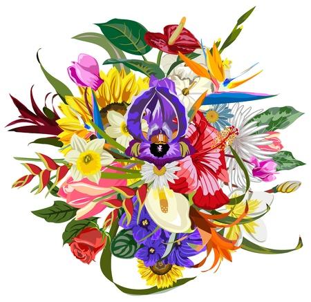 Illustration pour Bouquet of many beautiful and colorful flowers - image libre de droit