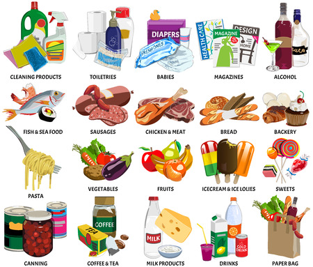 Vektor für Set of sixty four supermarket icons  - Lizenzfreies Bild
