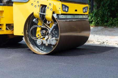 Photo for Fresh black asphalt on new street road. Construction at work. - Royalty Free Image