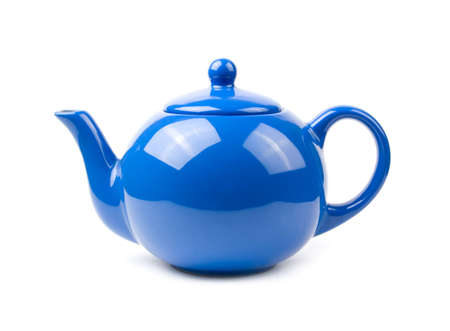 A bright blue ceramic standard design teapot isolated on white