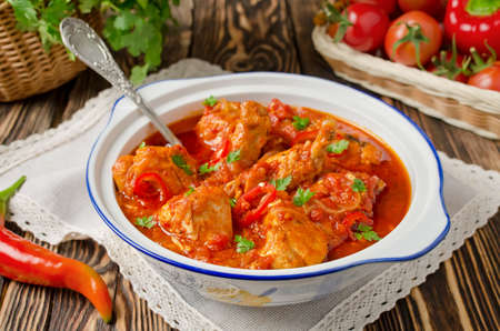 Chakhokhbili - chicken stewed with tomatoes and onions. Georgian national dish