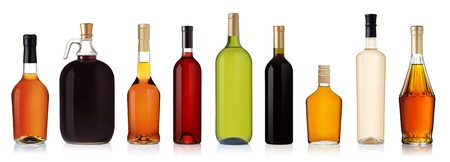 Photo pour Set of wine and brandy bottles. isolated on white background - image libre de droit