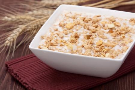 Bowl of muesli cereal, close up