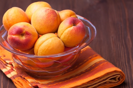 bowl of fresh and sweet apricots