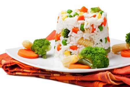Rice and vegetables on a white background