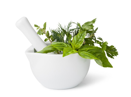 Photo pour mortar with herbs isolated on a white background - image libre de droit
