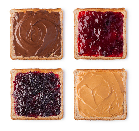 Toast with Chocolate, butter peanut and jam. Isolated on a white background