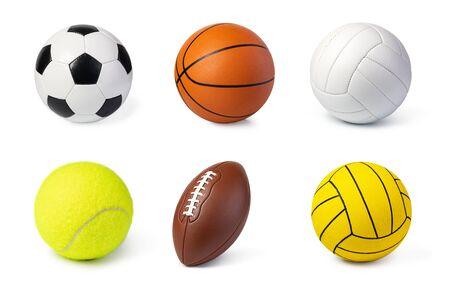 Photo pour Sport balls set isolated on white - image libre de droit