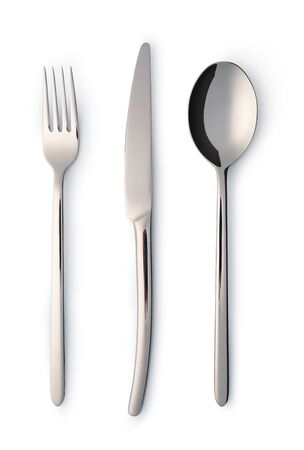 Photo for Cutlery set with Fork, Knife and Spoon isolated on white - Royalty Free Image