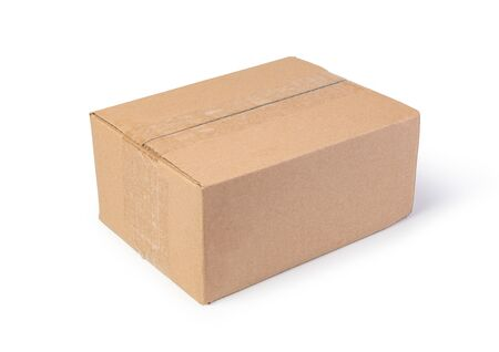 Photo for Closed cardboard box isolated on a white background - Royalty Free Image