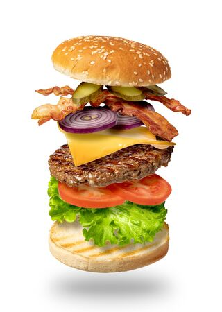 Photo pour Flying burger isolated on a white background - image libre de droit