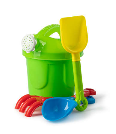 Photo pour Baby toy bucket and shovel rake isolated on white background - image libre de droit