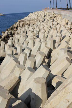 Corniche promenade in Oman. Architectural detail of the stones