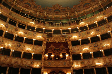Venice, Italy: Interior of La Fenice Theatre. Teatro La Fenice, \\\\\\\The Phoenix\\\\\\\, is an opera house, one of the most famous and renowned landmarks in the history of Italian theatre