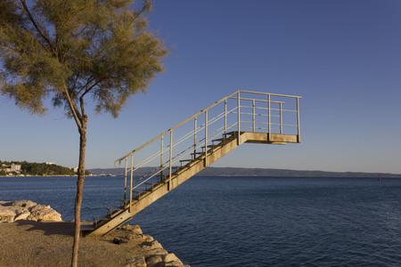 Diving platform by the sea in Stobrec, Croatia