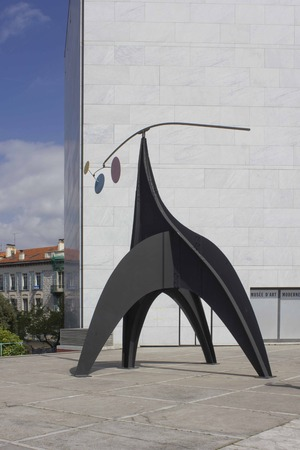 NICE - FRANCE - APRIL 23 2017: Modern sculpture on Mamac museum square in Nice, France