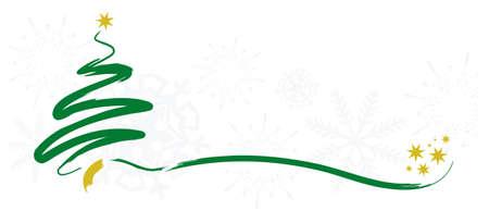 Ilustración de christmas greetings card with brush stroke tree - Imagen libre de derechos