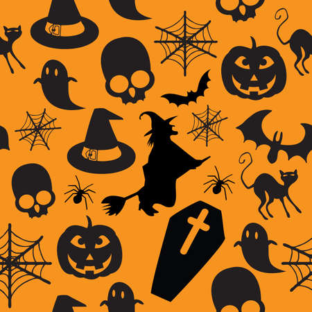 seamless Halloween pattern with most famous iconsのイラスト素材