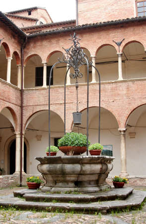 Courtyard of a renaissance palace in Corinaldo, Marche, italy