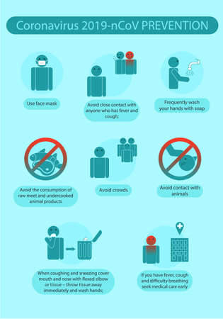 Illustration pour Coronavirus prevention rules infographics 2019-nCoV. Vector infographic safety rules to minimize risk of infection . - image libre de droit