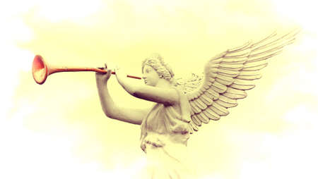Vintage image of sculpture angel blowing horn