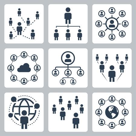 Illustration pour Social network, people and globalization icon set - image libre de droit