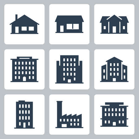 Illustration for Buildings and Houses Vector Icon Set in Glyph Style 2 - Royalty Free Image