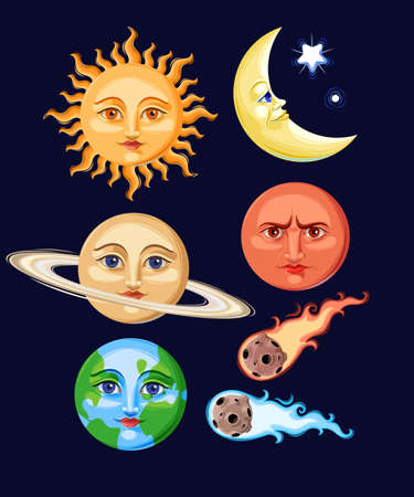 Illustration for Vector set of stylized vintage space objects - Royalty Free Image
