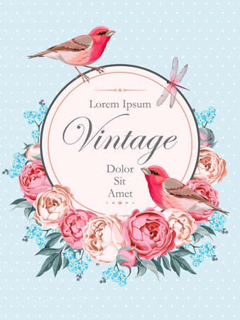 Ilustración de Beautiful vintage vector card with birds and peony on light blue background with polka dot - Imagen libre de derechos