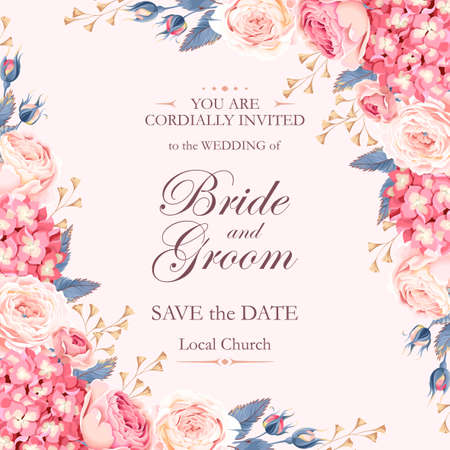 Illustration pour Vector vintage wedding invitation decorated with roses and hydrangea - image libre de droit