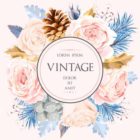 Illustration pour Vintage card with flowers - image libre de droit