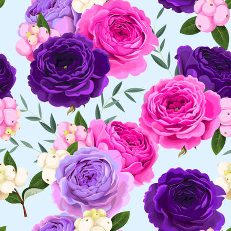 Illustration pour Vector floral seamless pattern with roses and berries - image libre de droit