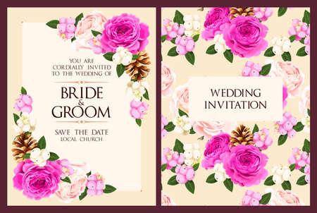 Illustration pour Vintage wedding invitation - image libre de droit