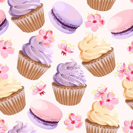 Illustration pour Seamless cupcakes and flowers Vector illustration. - image libre de droit