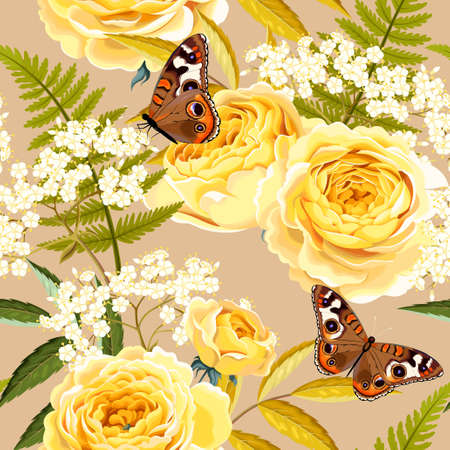 Illustration for Elderberry, roses and butterflies vector seamless background - Royalty Free Image
