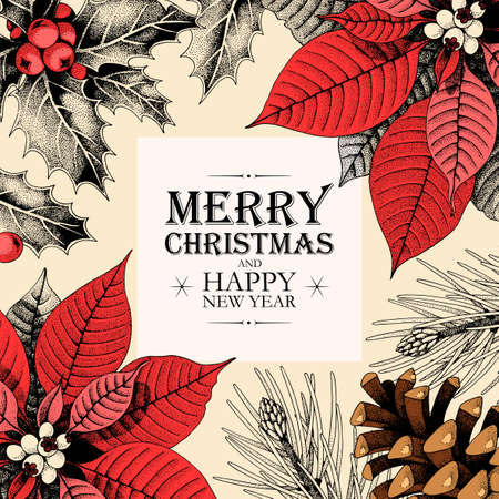Illustration pour Vector christmas card with holly and pine cones - image libre de droit