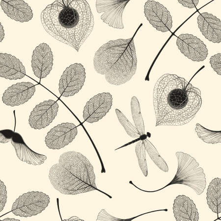 Ilustración de High detailed skeleton leaves vector seamless pattern on white background - Imagen libre de derechos