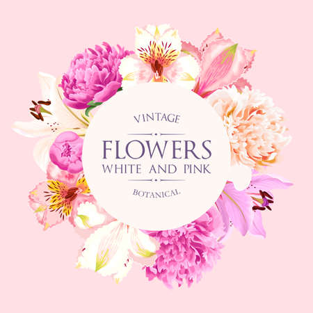 Photo pour Vector vintage card with pink and white flowers - image libre de droit