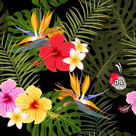 Illustration pour Seamless pattern with hibiscus and palm leaves - image libre de droit