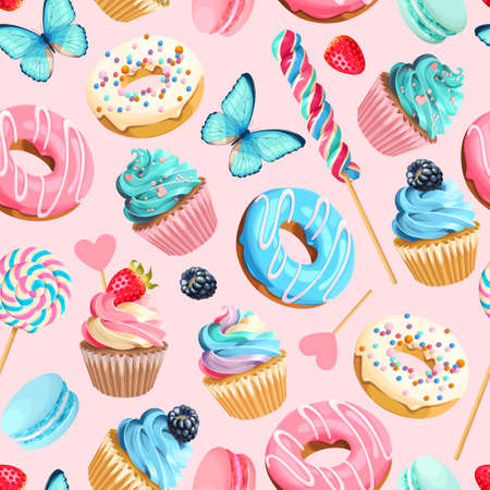 Illustration for Vector seamless pattern with cupcakes and donuts - Royalty Free Image