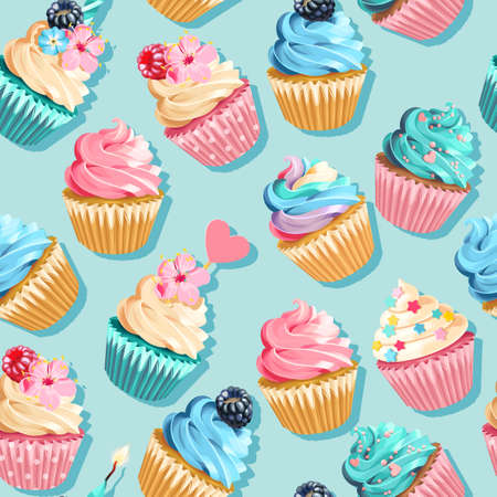 Illustration for Vector seamless pink and blue cupcake pattern - Royalty Free Image