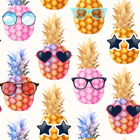 Illustration pour Seamless pattern with high detailed pine apple - image libre de droit