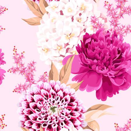 Illustration pour Vector seamless pattern with pink vintage flowers - image libre de droit