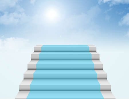 blue, white and gray steps to heaven background. illustration