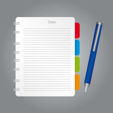 white,red,blue,green,orange blank note with blue pen over gray background. vector