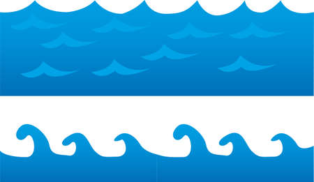 Illustration for blue sea cartoon isolated over white background. vector - Royalty Free Image