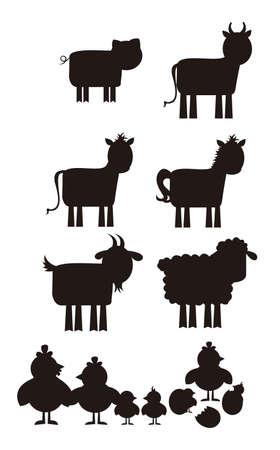 Photo pour Farm animal silhouette isolated over white background. vector - image libre de droit