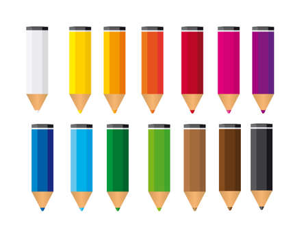 small colored pencils isolated over white background. vector