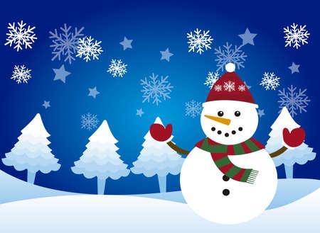 cute snowman over snowman, winter landscape. vector