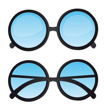 nerd glasses with blue lens isolated. vector illustration